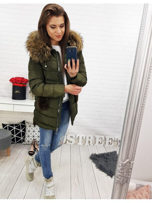 Dámska zimná zelená prešívaná bunda