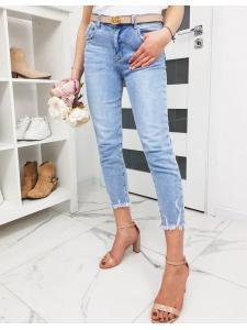 Dámske džínsové nohavice Momfit svetlo-modré