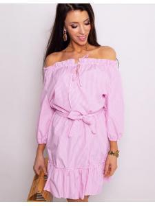 Ružové šaty Nathalie s pásikmi