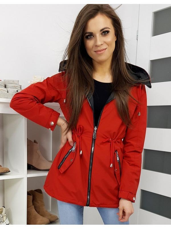 Dámska červená obojstranná párka bunda Denisa