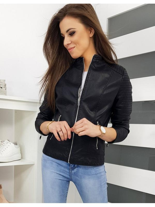 Čierna dámska kožená bunda Fines